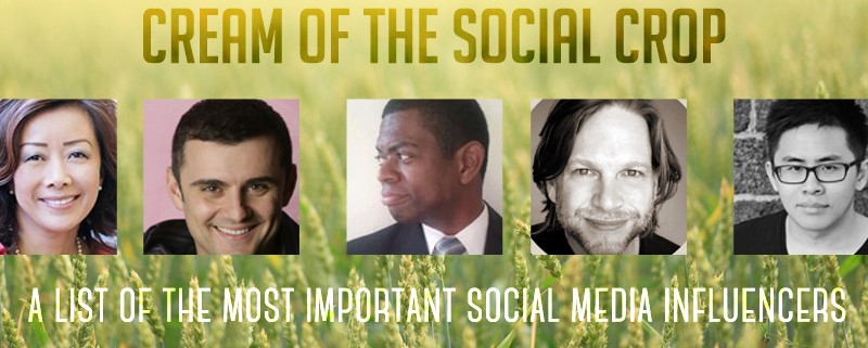 Cream of the Social Crop A List of the Most Important Social Media Influencers