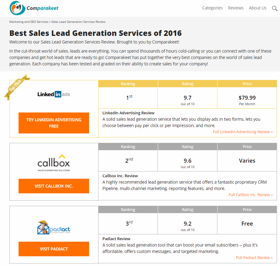 Best Lead Generation Companies - Comparakeet