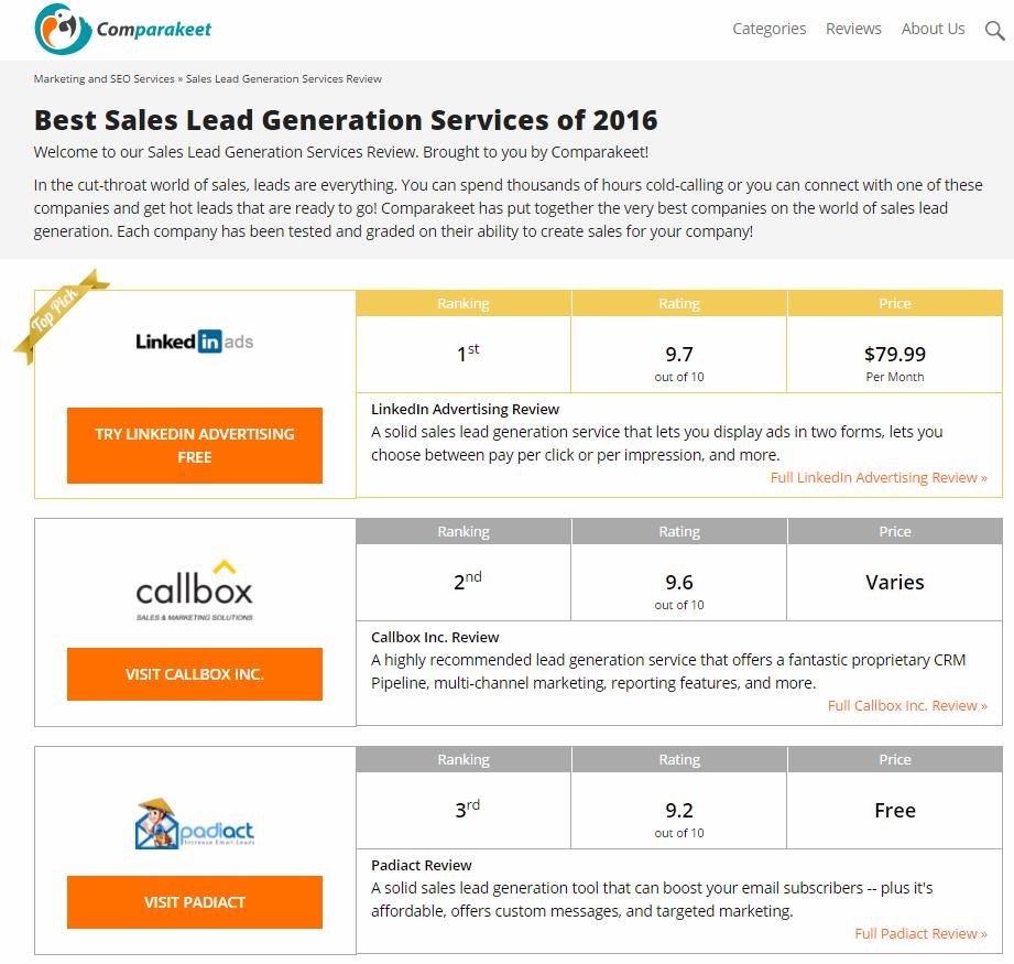 Best Lead Generation Companies - Comparakeet