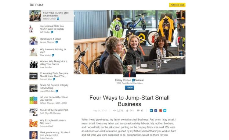 Hillary Clinton joins LinkedIn, pens article on small business solutions