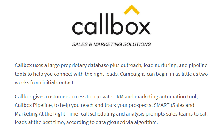 Callbox Best Lead Generation Services Review by TechnologyAdvice
