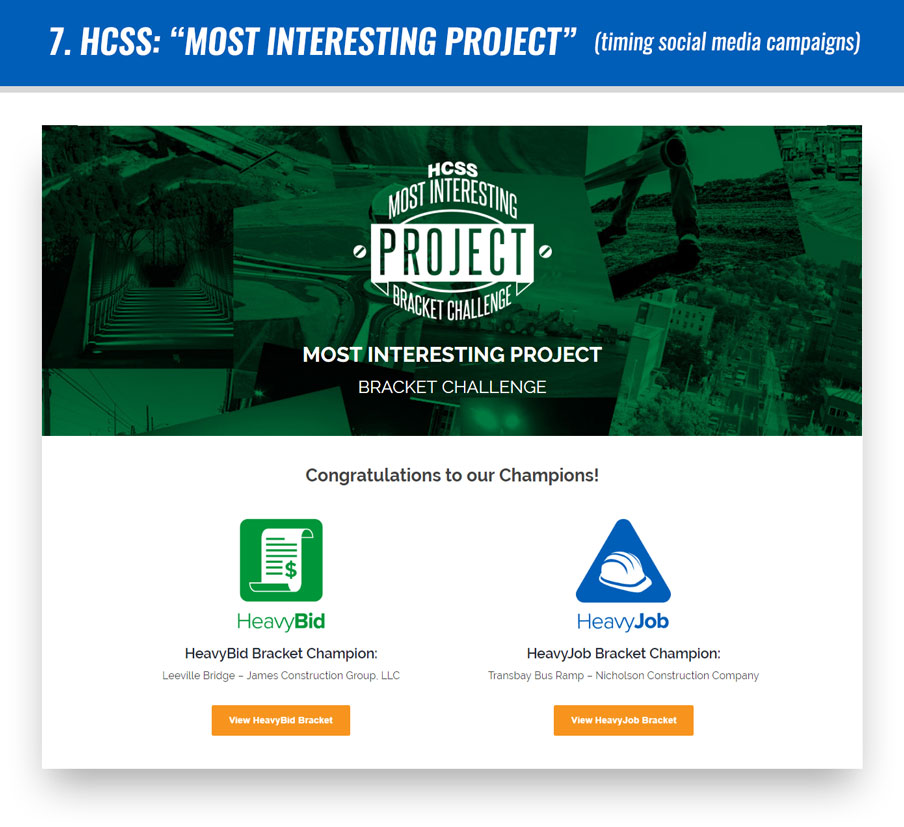 "#7 HCSS: ""Most Interesting Project"" (timing social media campaigns)"