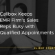 """Callbox Client Success Stories image that says """"Callbox Keeps EMR Firm's Sales Reps Busy with Qualified Appointments""""."""