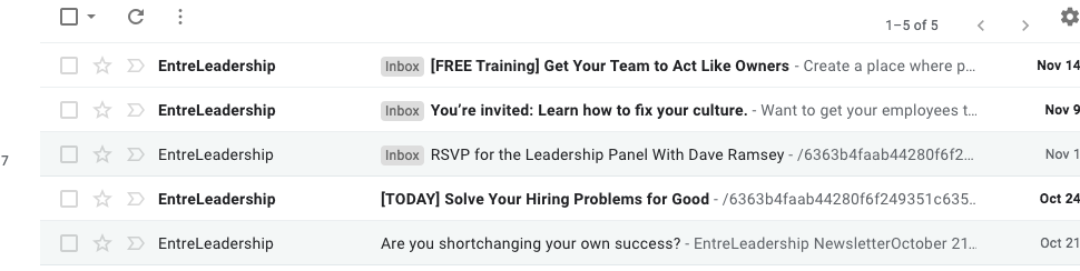 Screenshot of email inbox